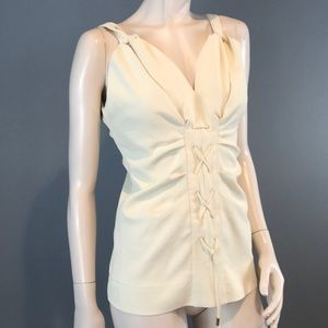 Carven Tops - NWOT Carven Ruched Off White Summer Top Sz 2